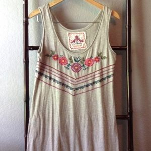 JWLA Johnny Was Embroidered Tank Top Tunic Dress